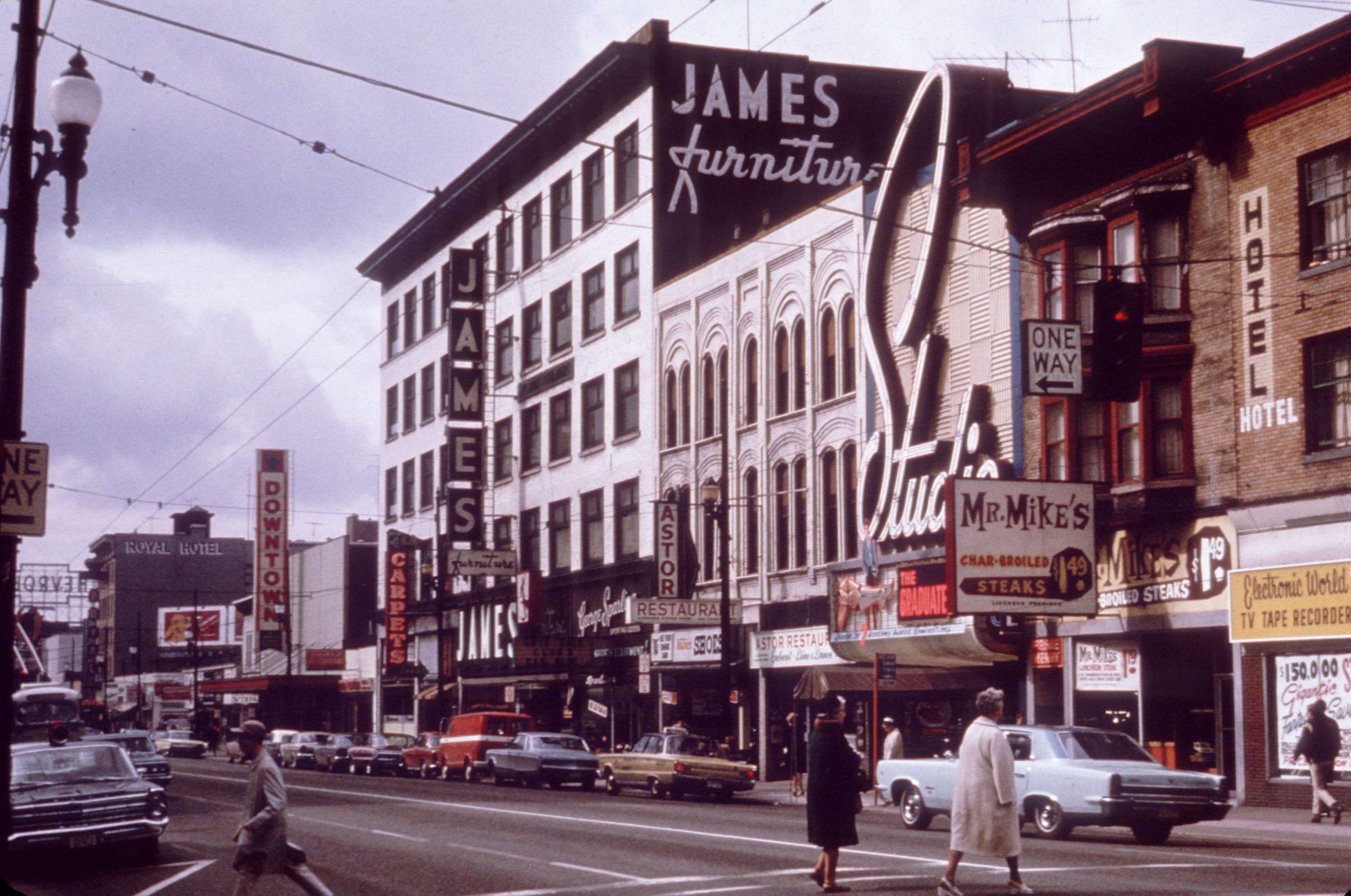 View of the 900 block Granville Street, Theatre Row, 1967. Reference code: COV-S511---: CVA 780-53