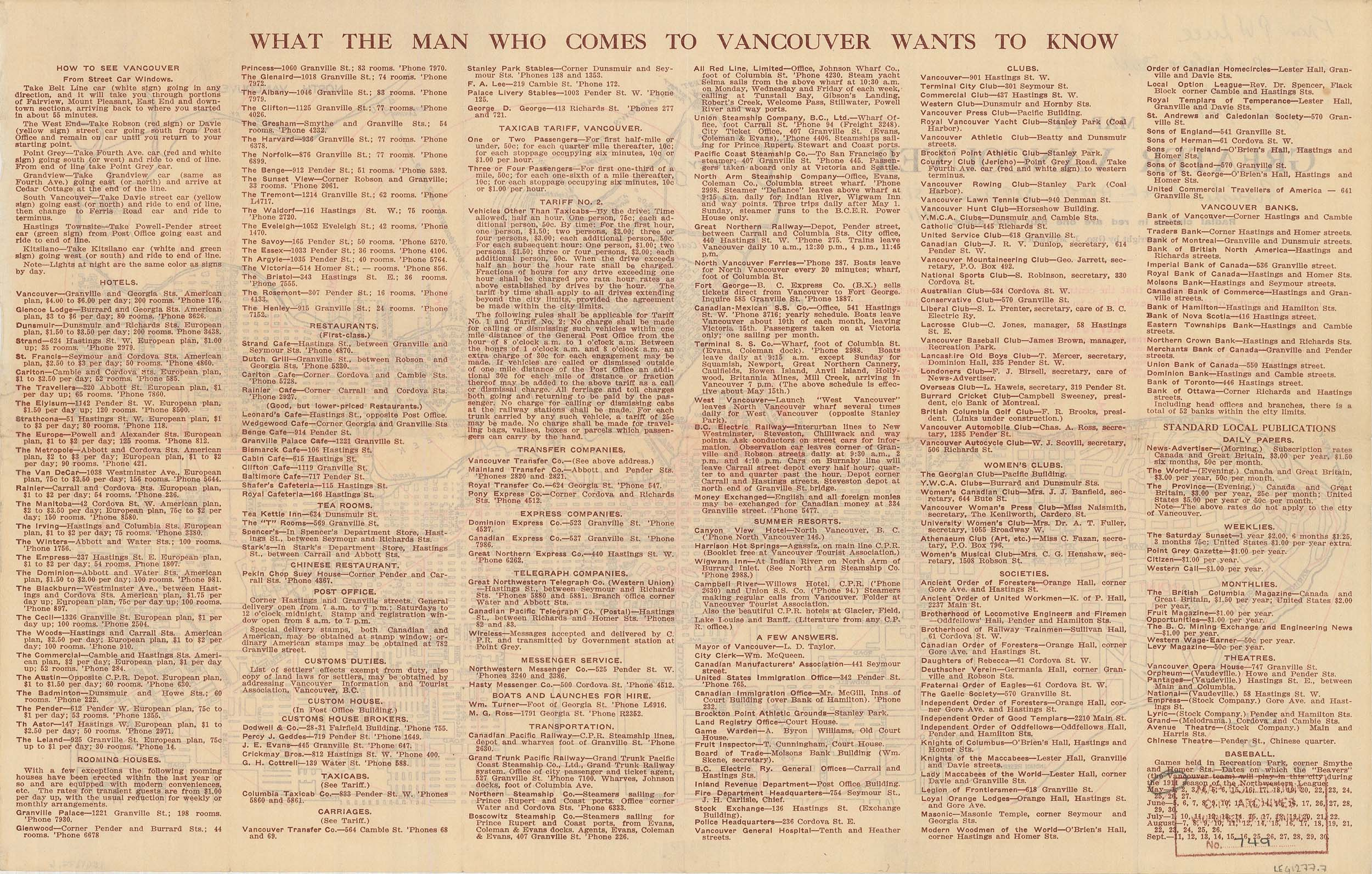 """What the man who comes to Vancouver wants to know"", 1911. Reference code AM1594-: MAP 749-: LEG1277.7."