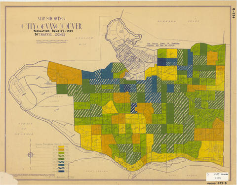 Map showing population density by traffic zone, 1955. Reference code: COV-S445-3-: LEG26.4