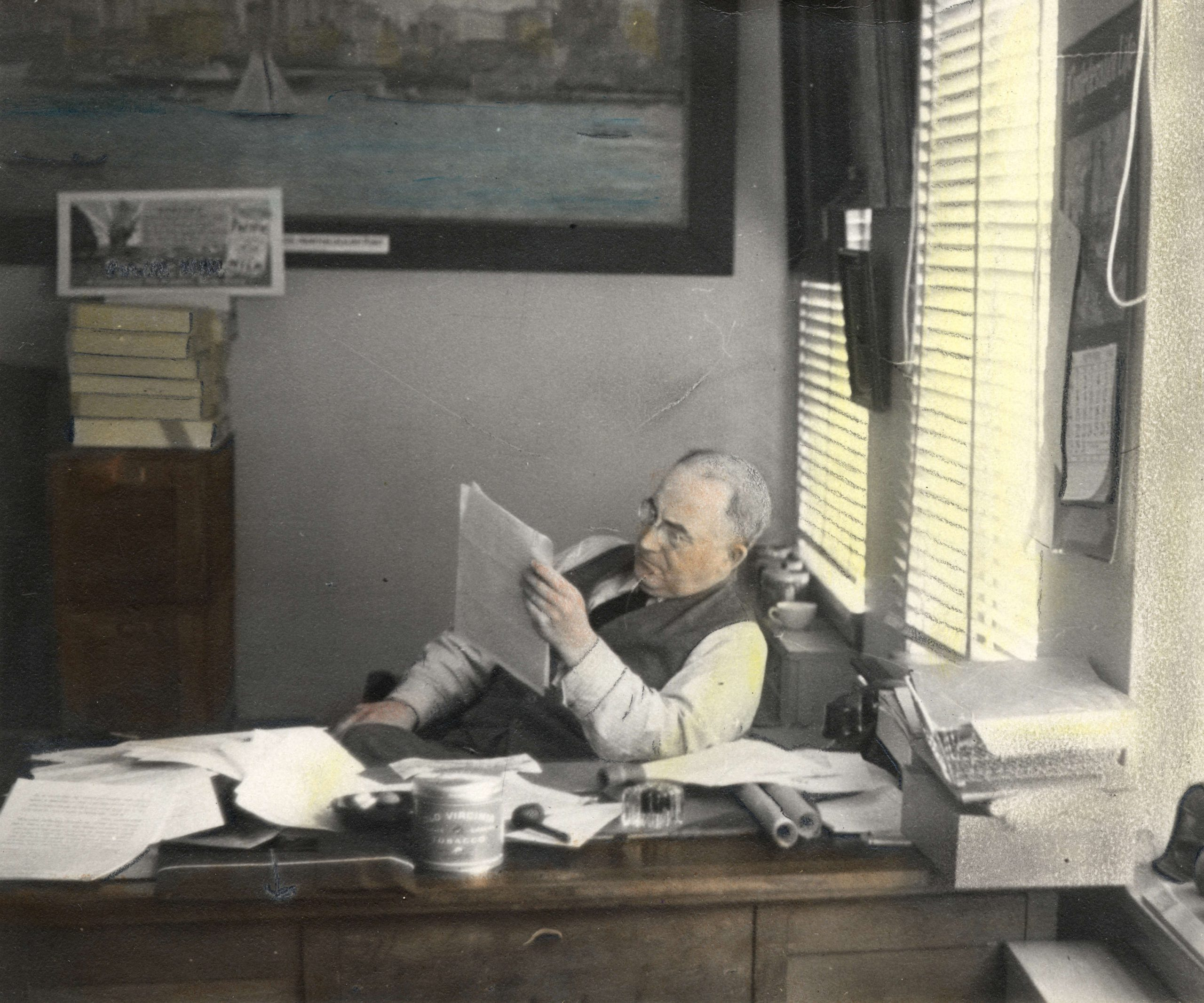 Major Matthews at work, 1941. Reference code: AM54-S4-: Port P567