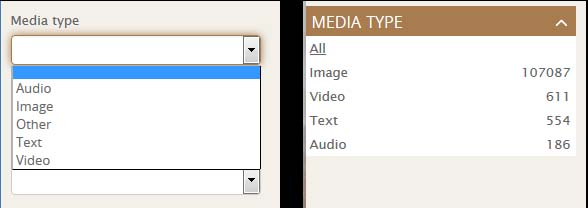 The old media type dropdown is on the left; the new version is on the right.