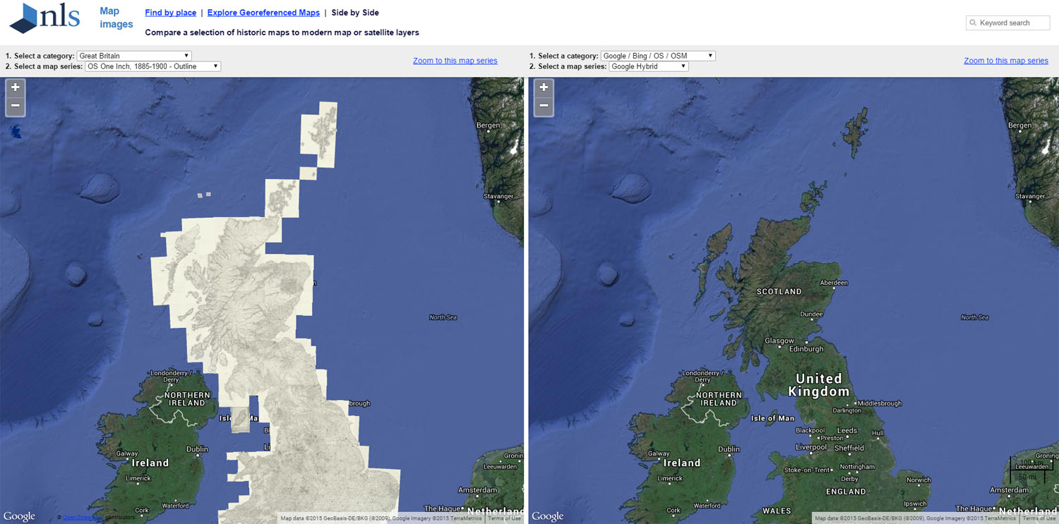 Screenshot of side-by-side comparison viewer on National Library of Scotland's site