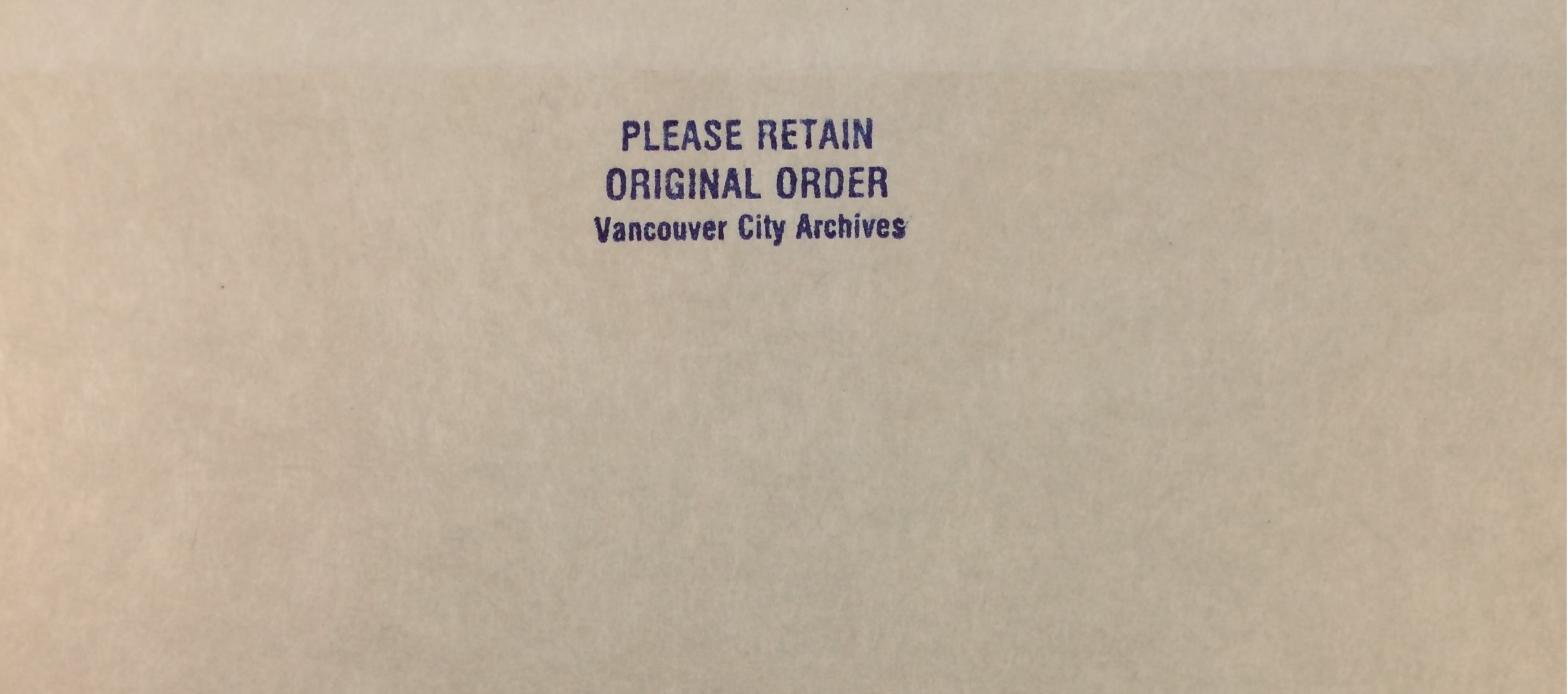 A stamp on some of our folders reminding people to keep the records in original order. Photo by Bronwyn Smyth