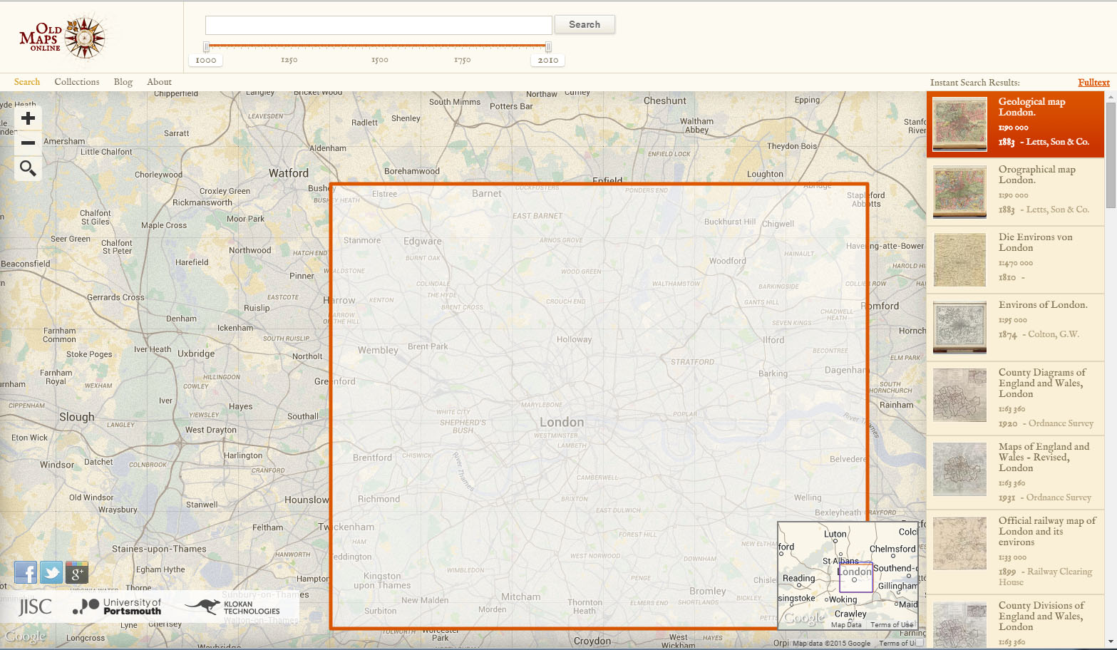 Screenshot of Old Maps Online looking at London