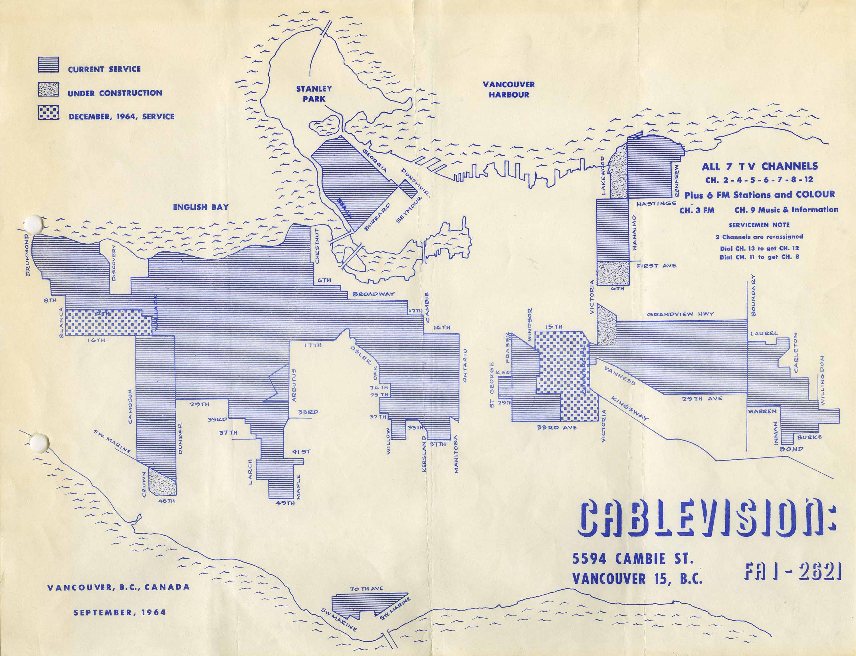Cablevision : Vancouver, B.C., Canada, September, 1964. Reference code AM1519-: PAM 1964-185