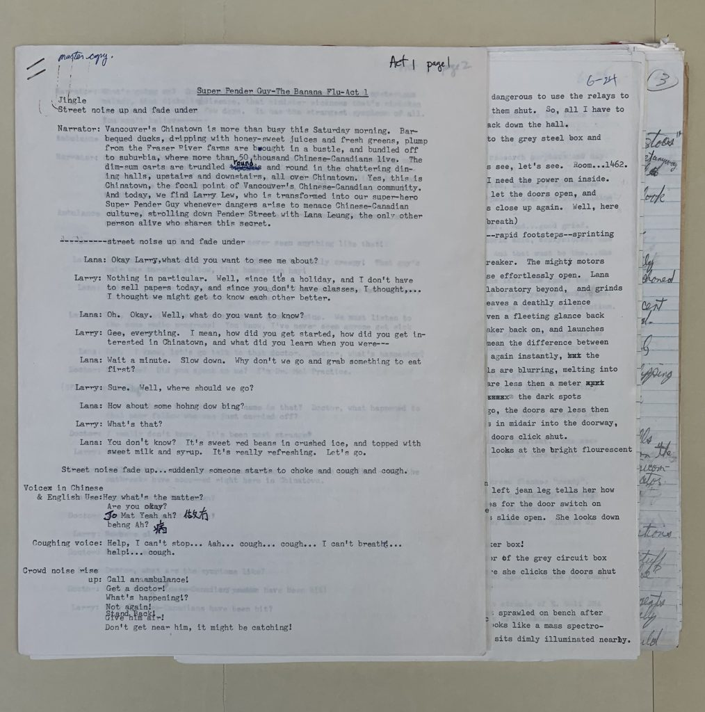 Script for Super Pender Guy : the banana flu, 1977/78. Photo by Kristy Waller. Reference code: AM1523-S3-F116