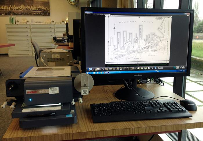 Microform workstation with Indus 4601-SL scanner.