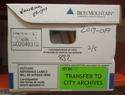 A box of City records transferred to the Archives. Photo by Kira Baker