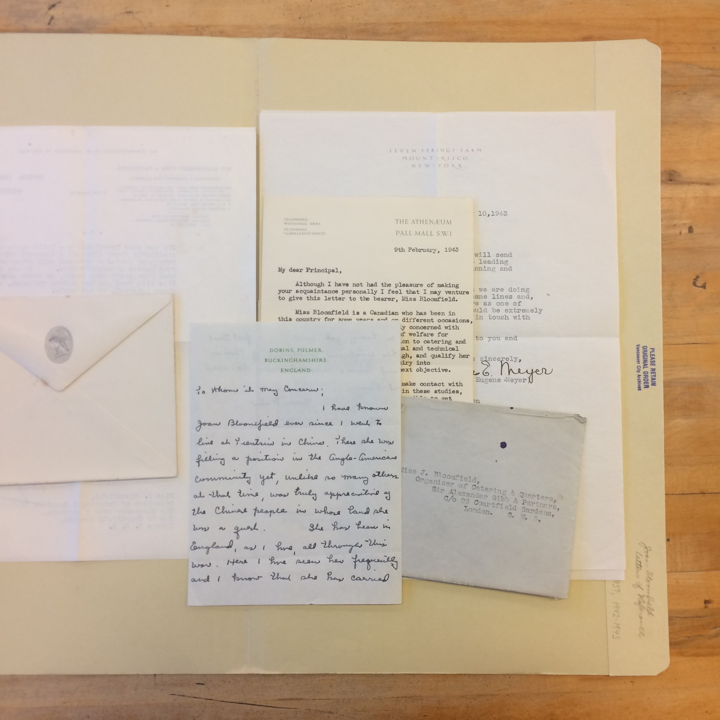Letters of reference for Joan Bloomfield, 1939-1943. Reference code: AM973-S6--. Photo by Bronwyn Smyth