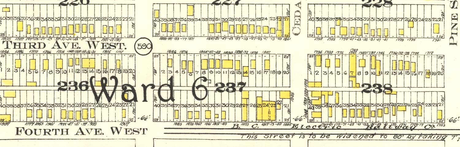 This part of Ward 6 shows the streetcar line along Fourth Avenue.