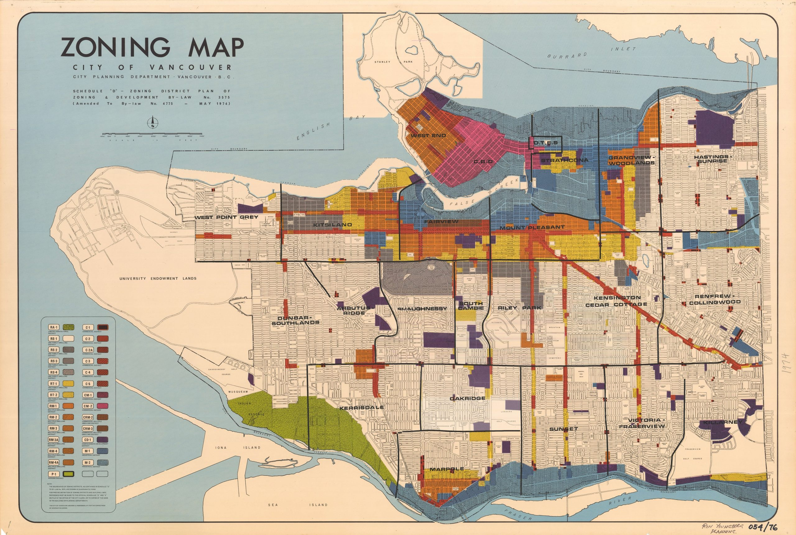 Zoning map from 1974. Reference code: PUB-: PD 2100.4