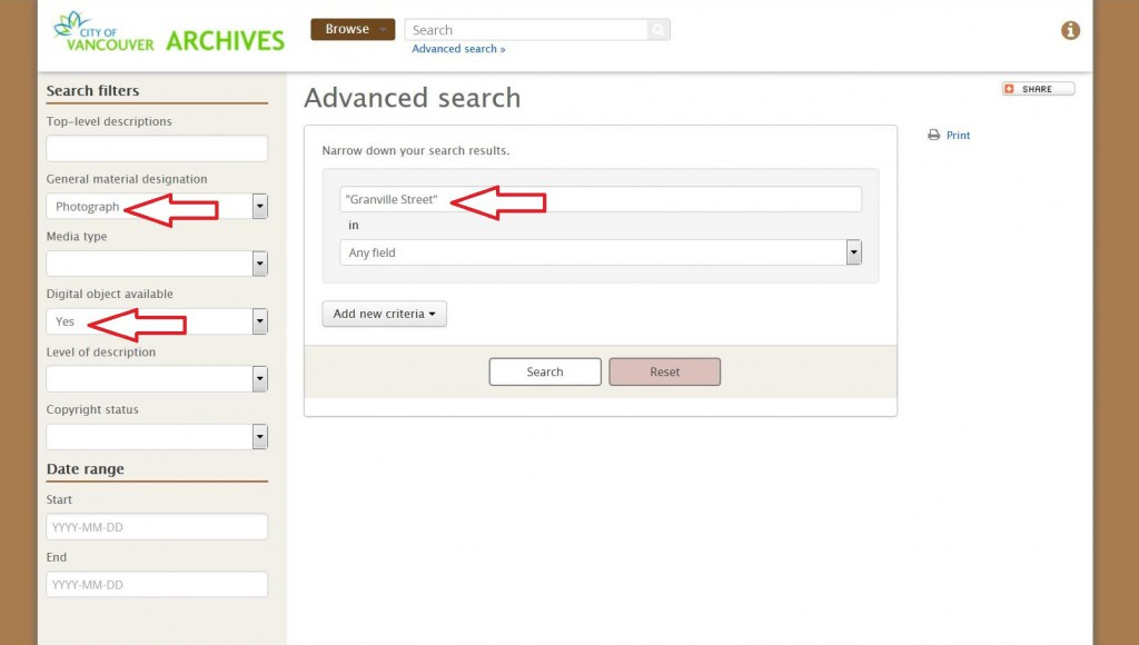 Advanced search screen using search filters.