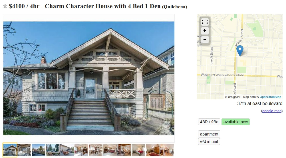 OpenStreetMap integrated with rental listings in the Vancouver Craigslist.