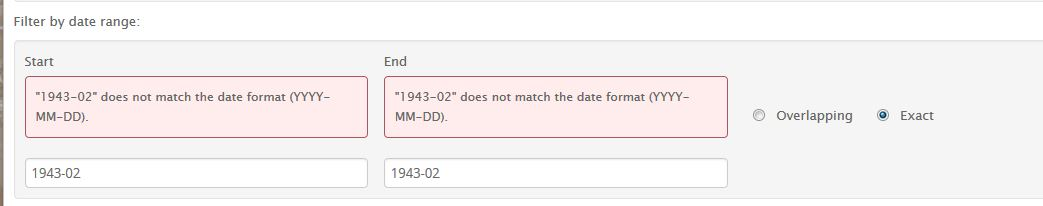 Exact date search requires year, month and day.