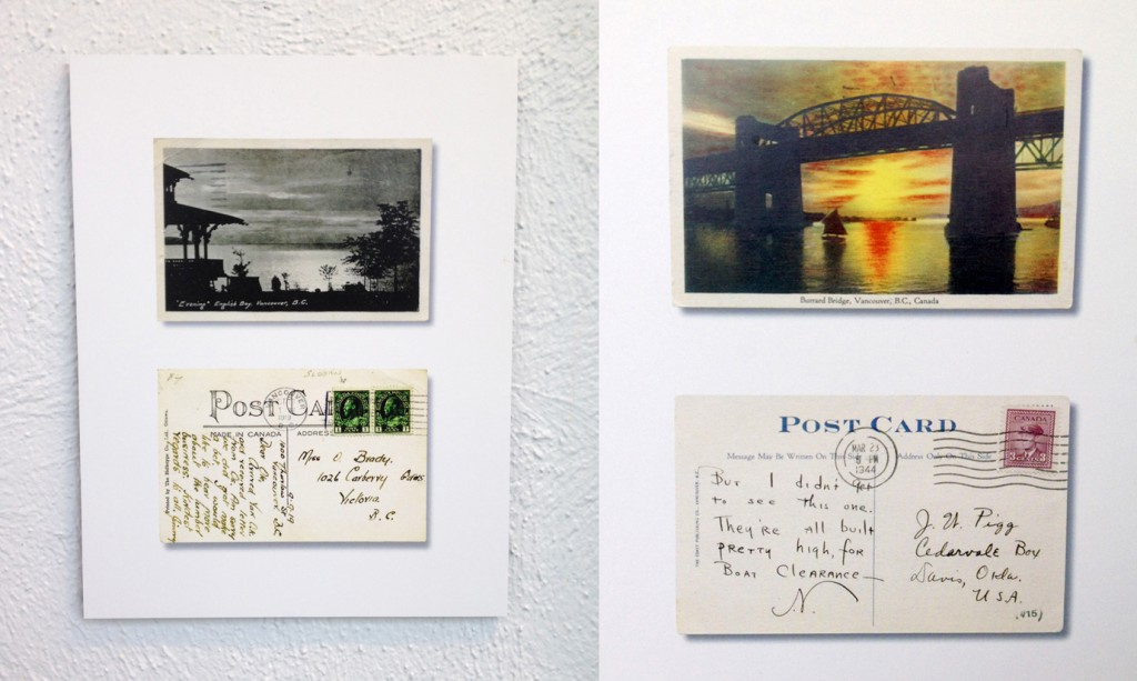 "Vintage ""Golden Age"" postcards, including the Burrard Bridge card that started it all. Photo: C.Hagemoen"