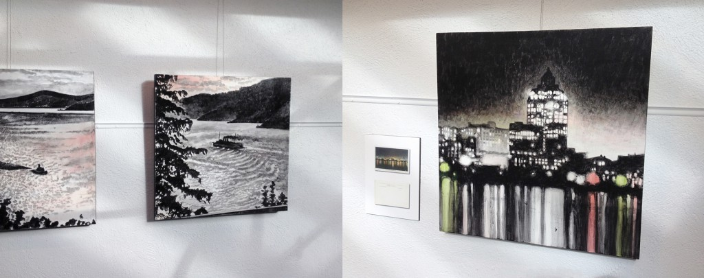 (l-R) Evening English Bay (ca.1919) – 2014 and a portion of City Lights (ca.1935) - 2015. Photo: C. Hagemoen