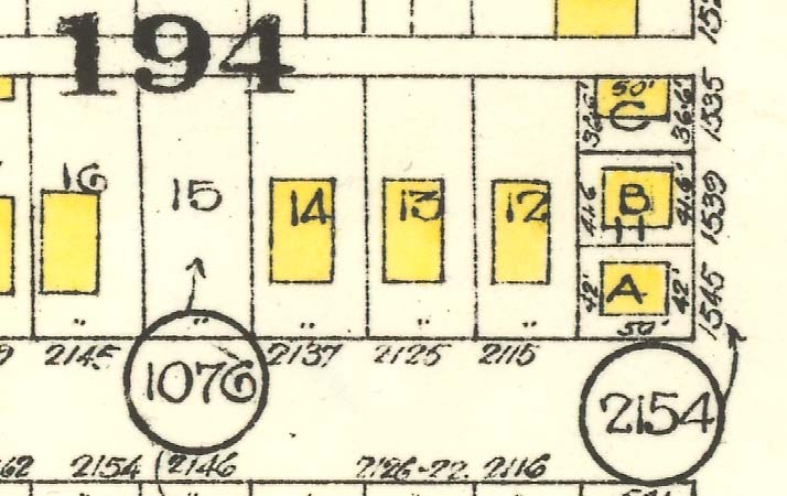 Numbers in circles refer to the Registered Plan that the mapped information was taken from.