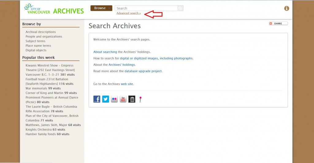 "Search Archives main page. Select ""Advanced search"" at top of page."
