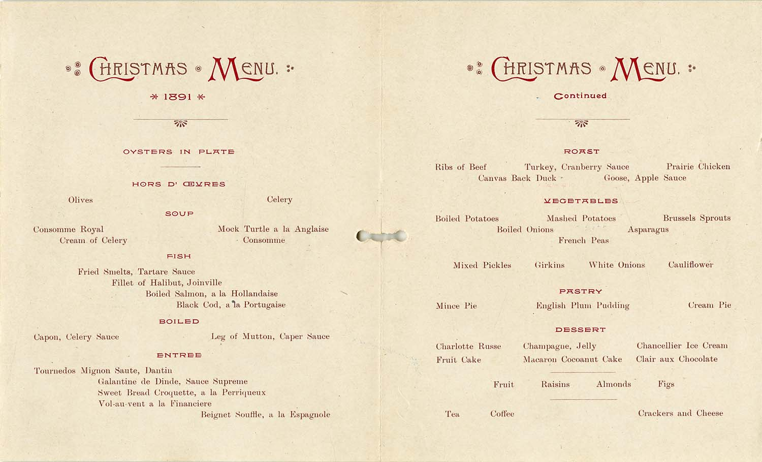 Inside pages of Christmas menu, Hotel Vancouver, 1891